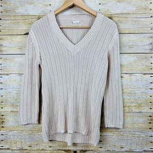 Sweaters - V Neck Sweater Tan Medium/ Large